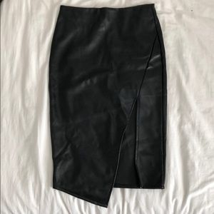 Asymmetrical Black Faux Leather Midi Skirt
